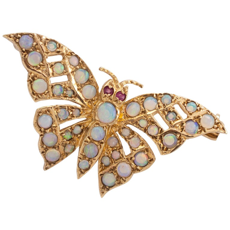 Gold Butterfly Brooch With Natural Opals & Rubies Hallmarked London 1985 For Sale