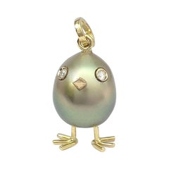 Chick South Sea Pearl Diamond Yellow and White Gold 18 Karat Pendant or Necklace
