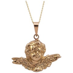 9 Karat Yellow Gold Winged Cherub Pendant Necklace