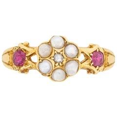 Georgian Diamond, Pearl and Ruby Ring, circa 1801