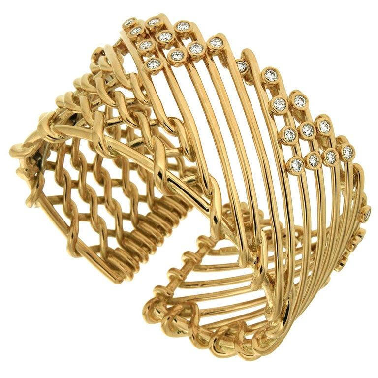 Valentin Magro Diamond Gold Triangular Motif Netting Bracelet For Sale