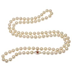 .16 Carat Ruby Diamond Yellow Gold Cultured Pearl Necklace