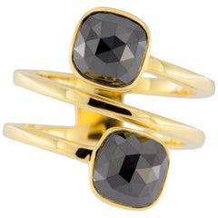 Jona Black Diamond 18 Karat Yellow Gold Crossover Ring Band