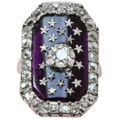 18th Century Bague au Firmament with Diamonds and Purple Glass