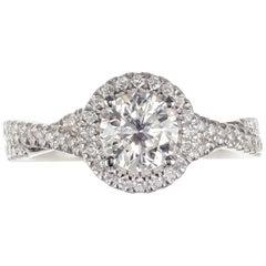 Peter Suchy GIA Certified .92 Carat Diamond Platinum Engagement Ring