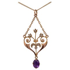 Antique Amethyst & Pearl Heart Shape Gold Pendant Necklace Circa 1900