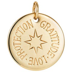 Minka Gems - 18k Yellow Gold Protection Charm Initial Pendant