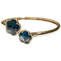 Pasquale Bruni Bangle in London Blue Topaz and Diamonds in 18 Karat Pink Gold