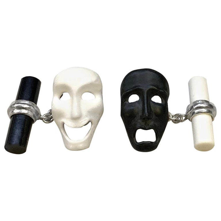 18 Karat White Gold Comedy and Tragedy Theater Masks in Onyx and Agate Cufflinks For Sale