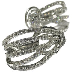 Crivelli 18 Karat White Gold 5-Row Diamond Earrings
