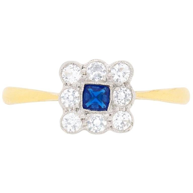 Victorian Sapphire and Diamond Cluster Ring, circa 1900s For Sale
