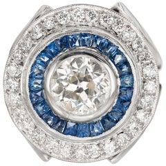 GIA Certified 1.50 Carat Diamond Sapphire Platinum Cocktail Ring