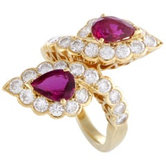 Van Cleef & Arpels Diamond and Ruby Yellow Gold Bypass Ring