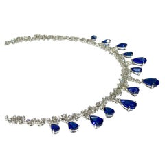 Crivelli Pear Shape Drop Sapphire with White Diamond Tennis Necklace
