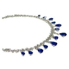 Crivelli Pear Shape Drop Sapphire with White Diamond Tennis Necklace