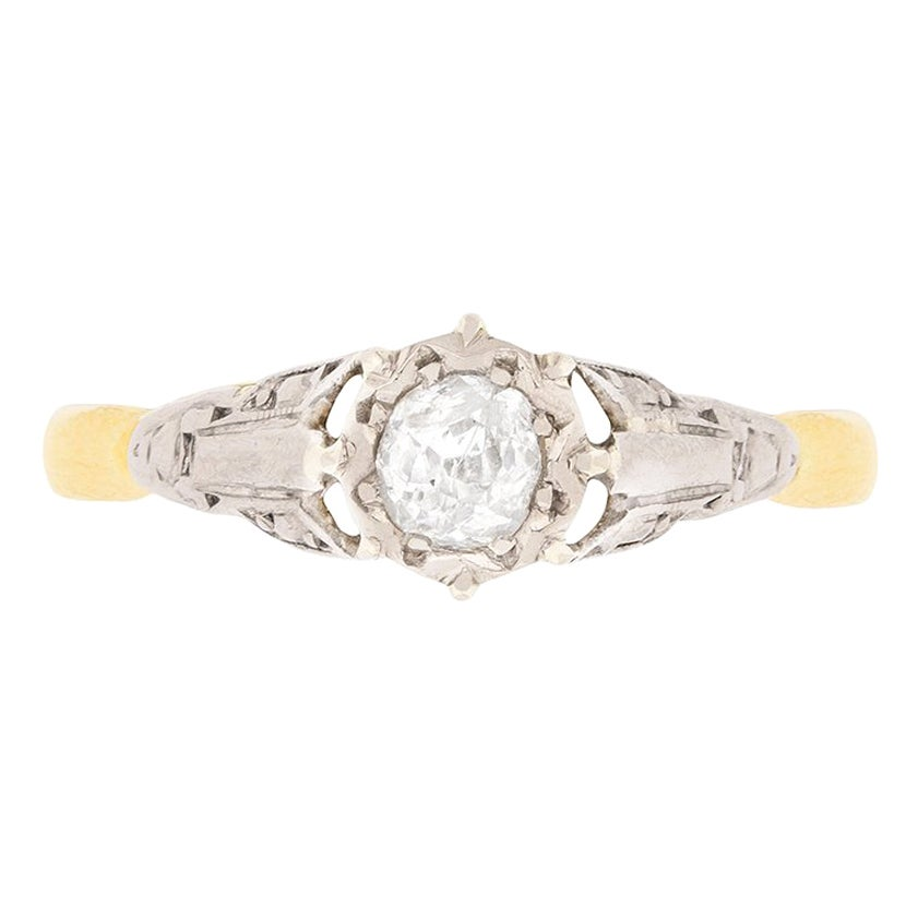 0.25 Carat Old Cut Diamond Solitaire Engagement Ring, circa 1920s