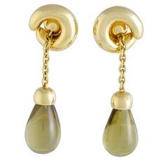 Pomellato Lemon Citrine Teardrop Dangling Yellow Gold Clip-On Earrings