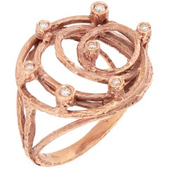 Sacchi Diamonds Gemstone 18 Karat Satin Rose Gold Wire Cocktail Ring