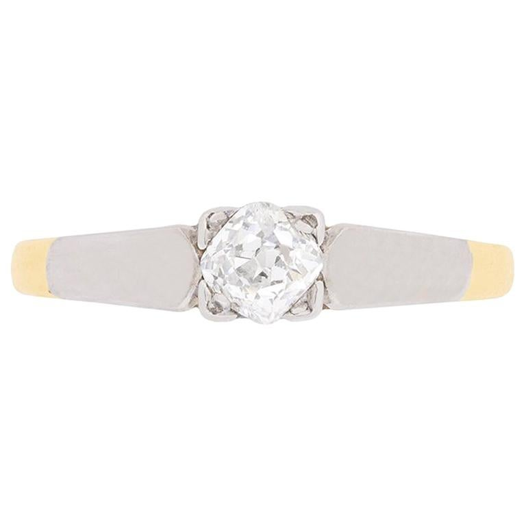 Edwardian Diamond Solitaire Engagement Ring, circa 1910 For Sale