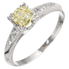 GIA Certified .58 Carat Yellow Diamond Platinum Engagement Ring