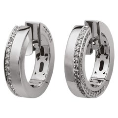 Monseo White Gold Diamond Hoop Earrings