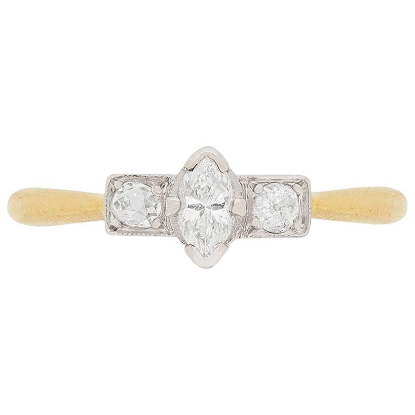Art Deco Marquise and Old Cut Diamond Ring, circa 1920s