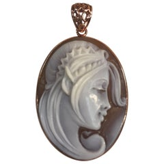 Portrait Hand Carved Cameo Rose Gold Sterling Silver Pendant Estate Fine Jewelry
