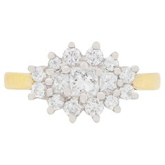 Two-Tone Princess and Round Brilliant Cut Diamond Cluster Ring