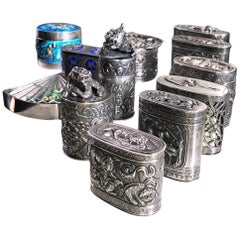 Early 20th Century Chinese Export Silver Fascinating Pill Box Collection