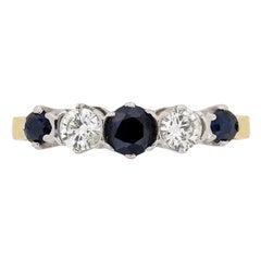 Vintage Five-Stone Diamond and Sapphire Ring, circa 1930s