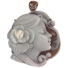 Portrait Carved Shell Cameo Rose Gold Sterling Silver Heirloom Quality Pendant