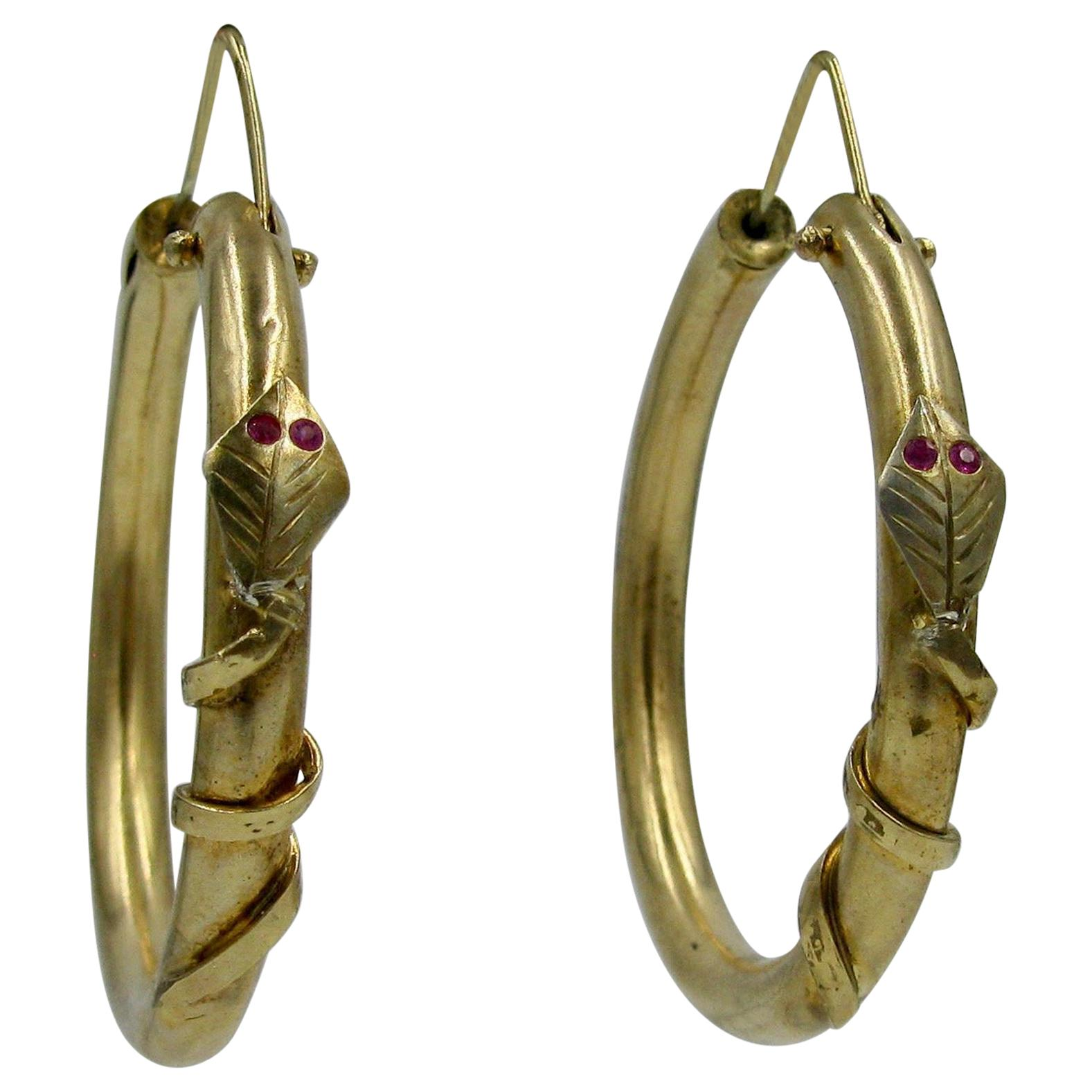 Snake Earrings Victorian Ruby Gold Etruscan Revival Hoop