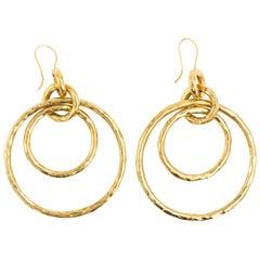 Ippolita Glamazon Jet-Set 18K Yellow Gold Hammered Large Interlock Loop Earrings