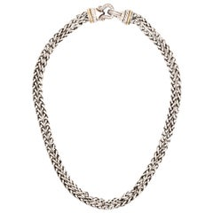 David Yurman Sterling Silver 18k Gold Diamond Double Wheat Chain Buckle Necklace