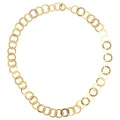 18 Karat Yellow Gold Textured Circle Link Necklace