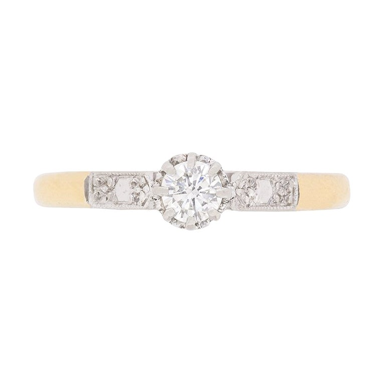 Art Deco 0.25 Carat Diamond Solitaire Ring, circa 1940s