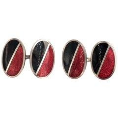 Pair of Red and Black Enamel Cufflinks