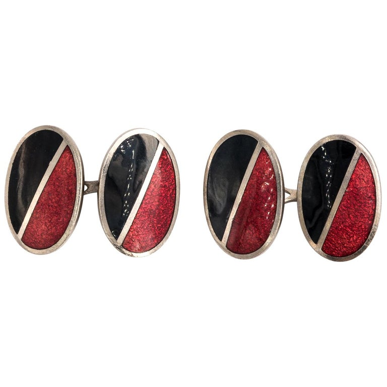 Pair of Red and Black Enamel Cufflinks For Sale