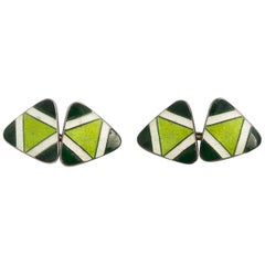 Pair of Green Sterling Silver and Enamel Cufflinks