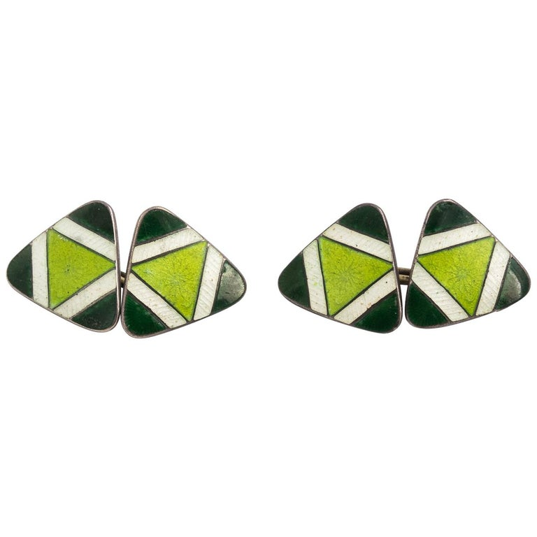 Pair of Green Sterling Silver and Enamel Cufflinks For Sale