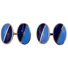 Pair of Blue Enamel Cufflinks