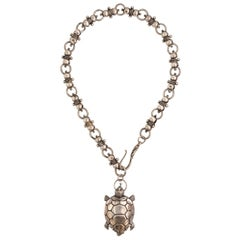 Silver Plated Victorian Turtle Necklace