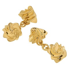 18 Carat Yellow Gold Vermeil 'Iced Gem' Sweet Chain Cufflinks