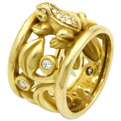 Barry Kieselstein-Cord Frog with Diamonds Ring 18 Karat Yellow Gold