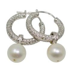 3 Carat White Diamond and South Sea Pearl Detachable Hoop Earrings in 18 Karat