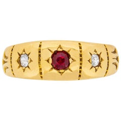 Victorian Ruby and Diamond Band Ring, 1891