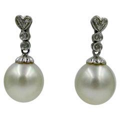 South Sea Pearl Diamond 14 Karat Gold Earrings Heart Motif