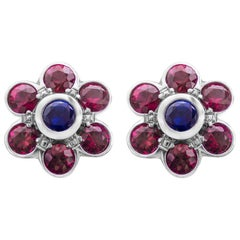 Ruby and Sapphire Flower Stud Earrings
