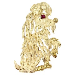 Yellow Gold and Ruby Shaggy Dog Brooch, circa 1960s