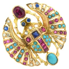 Egyptian Revival Winged Scarab Diamonds Ruby Sapphire Turquoise 18 Karat Gold